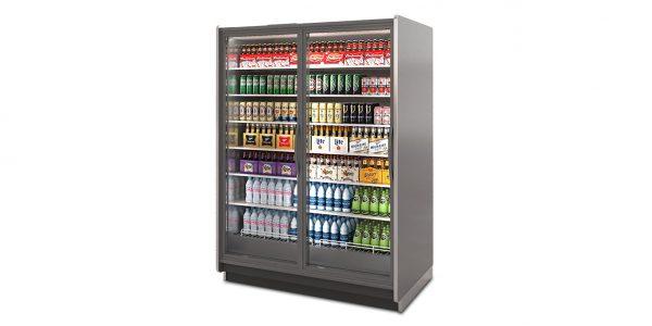 VNRB Medium Temperature Glass Door Reach-In Merchandiser for Beverage and Dairy.