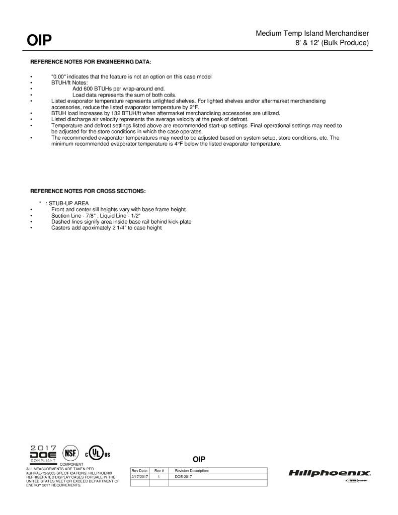OIP medium-temperature bulk produce island merchandiser: technical reference sheet.