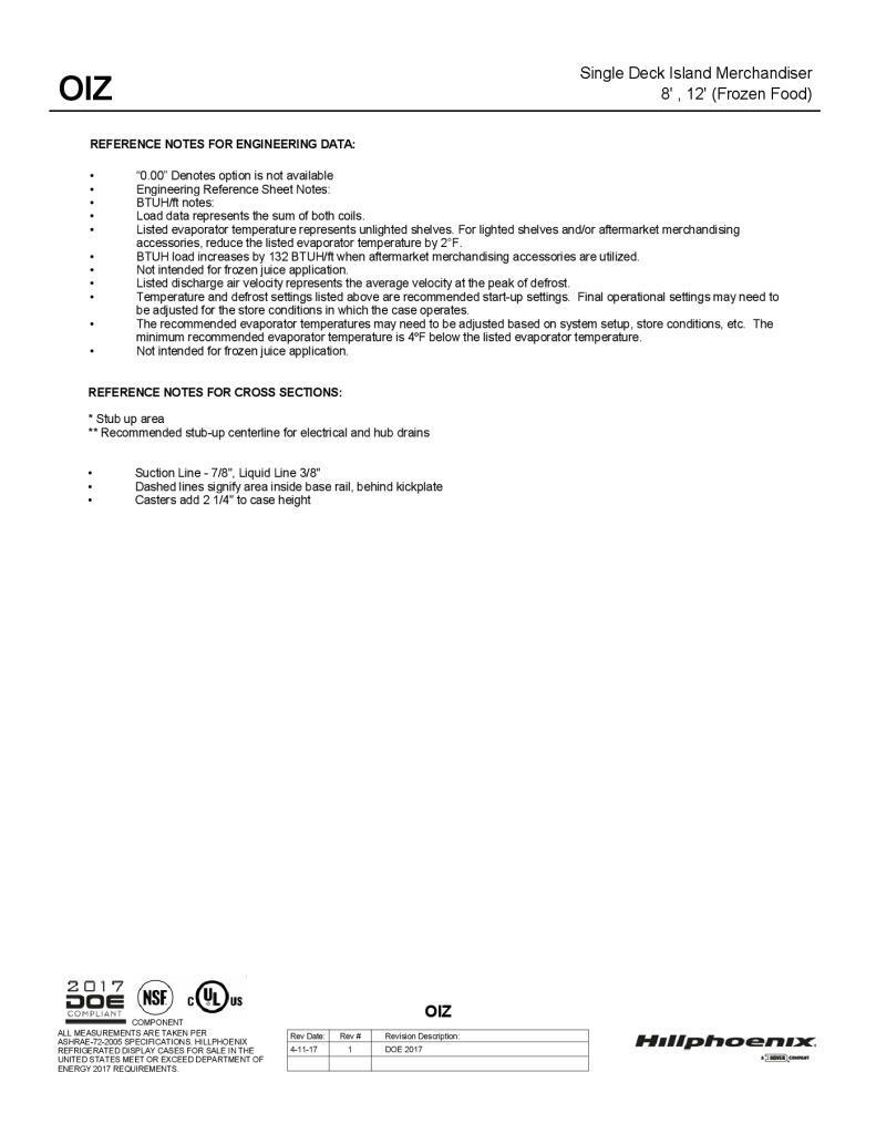 OIZ single-deck frozen foods island merchandising display case: technical reference sheet.