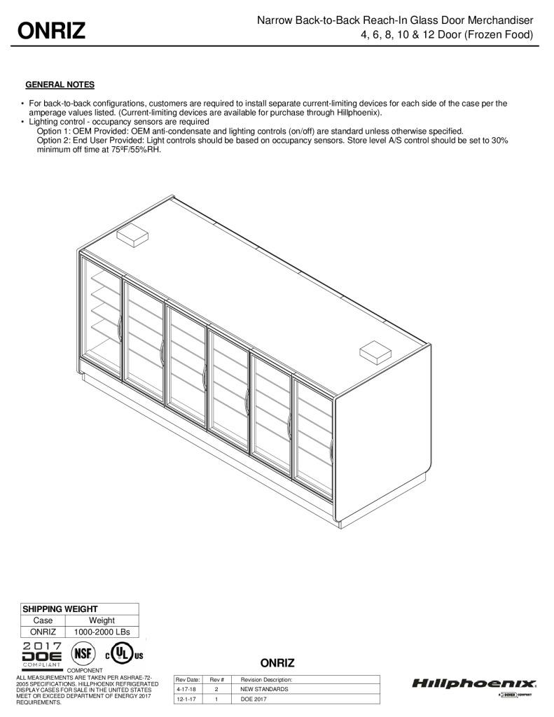 ONRIZ narrow back-to-back reach-in glass door frozen food merchandiser: technical reference sheet.
