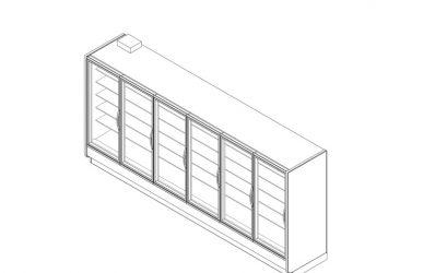 ONRZH high narrow reach-in glass door frozen food merchandiser: technical reference sheet.