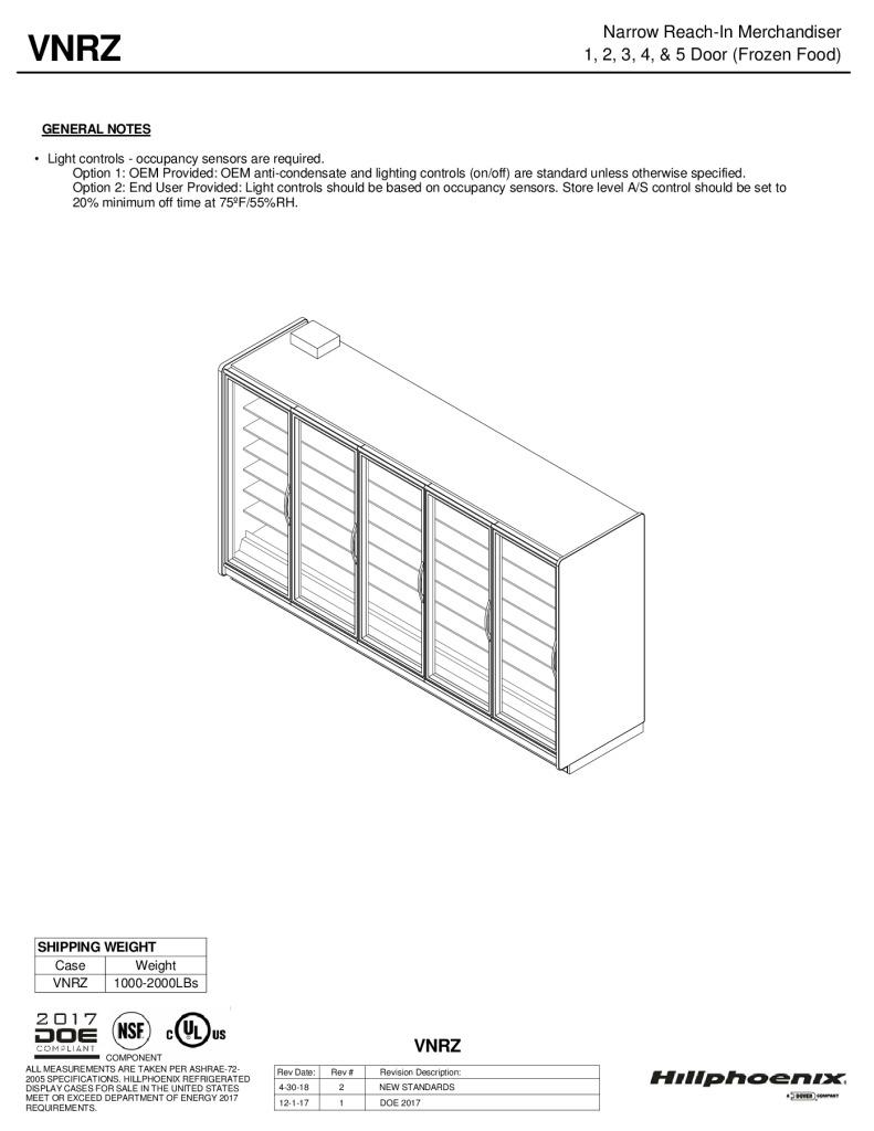 VNRZ narrow reach-in frozen foods merchandiser: technical reference sheet.