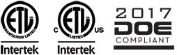 Intertek Certified and DOE Compliant