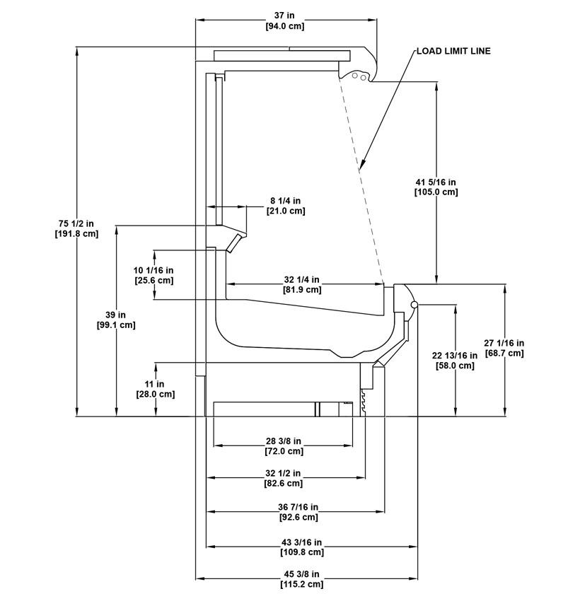 OM-NRG Utility Single Deck Cross-Merchandiser: product detail specification sheet.
