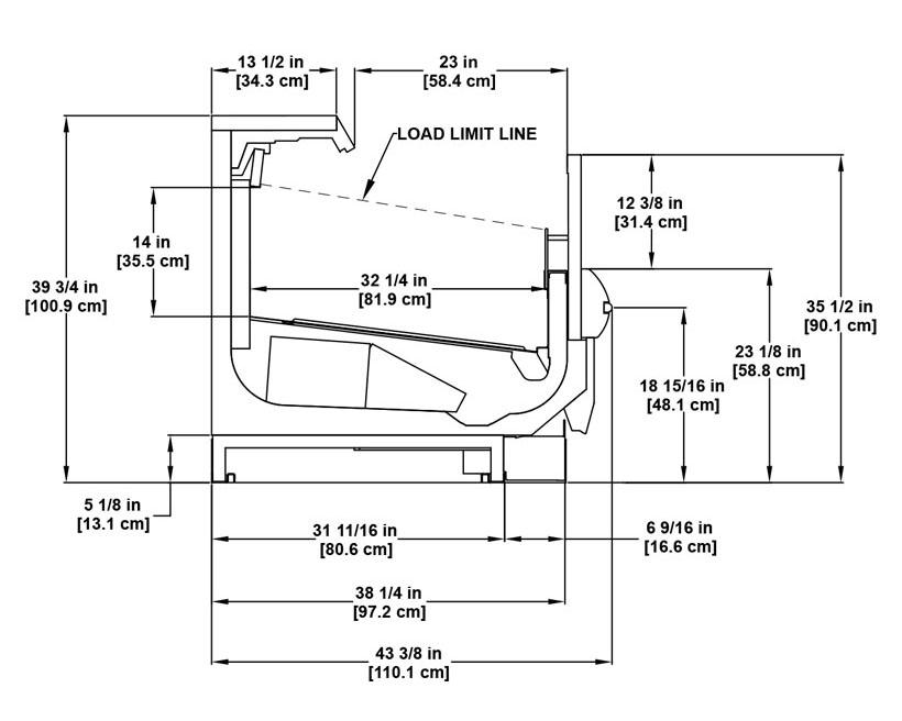 OMZD utility multi-deck frozen merchandiser: product detail specification sheet.