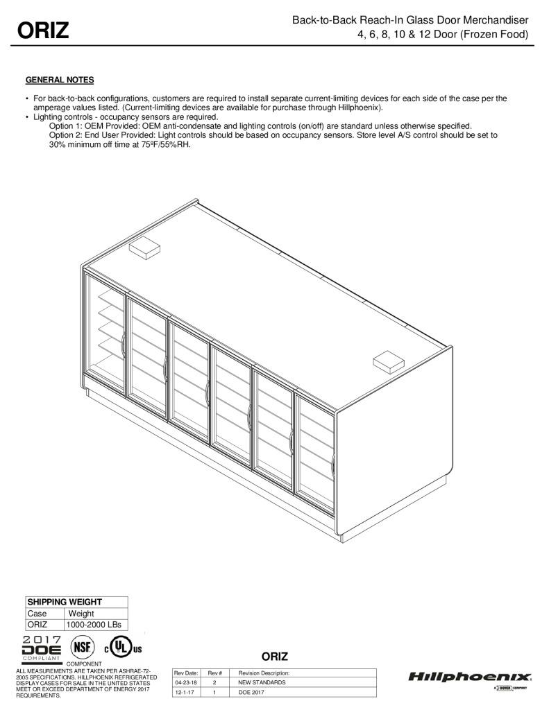 ORIZ back-to-back reach-in glass door frozen food merchandiser: technical reference sheet.