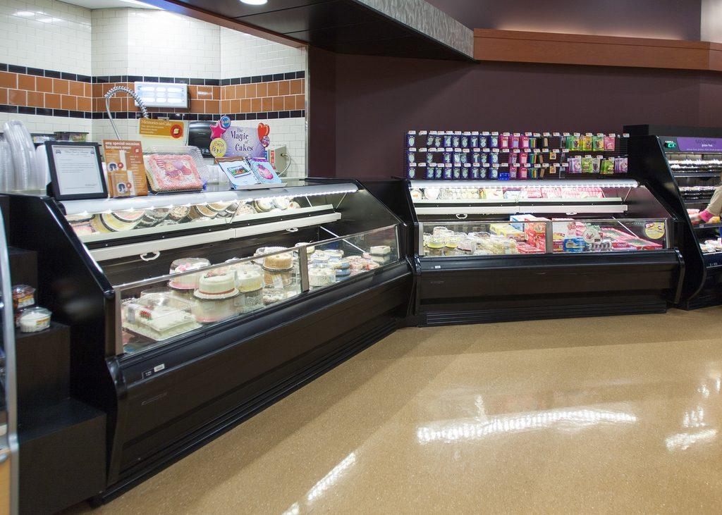 OMZD utility multi-deck low temperature frozen foods merchandising display case.