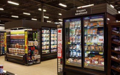 ORZH high glass door reach-in low-temperature frozen food and ice cream merchandiser.