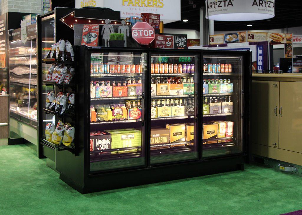 VNRBS short glass door reach-in medium-temperature produce, beverage, dairy, deli and meat display case.