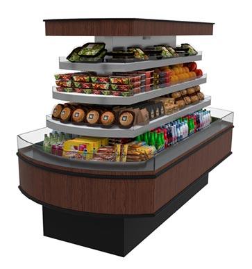 HVI-406R-408R SFC optional self service open multi-deck radius island display case