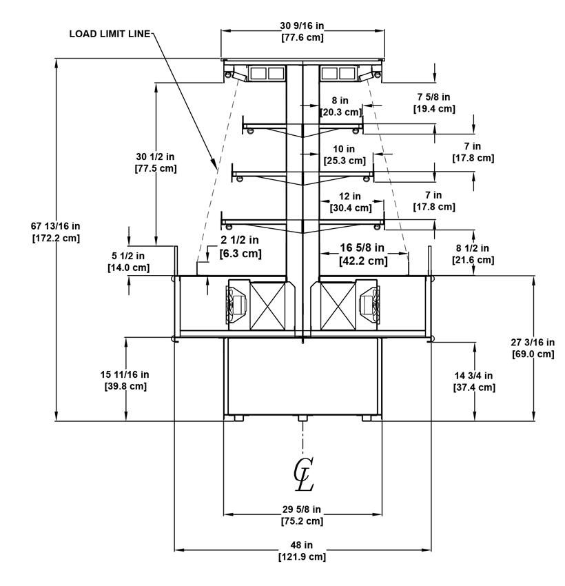 VI-406R-408R self service open multi-deck radius island display case profile