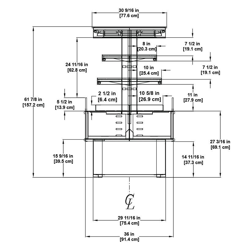 HVI-3-305SC-RAD Self-Service Open Multi-Deck Refrigerated Radius Island Merchandiser for Bakery, Beverage, Dairy, Deli and Product