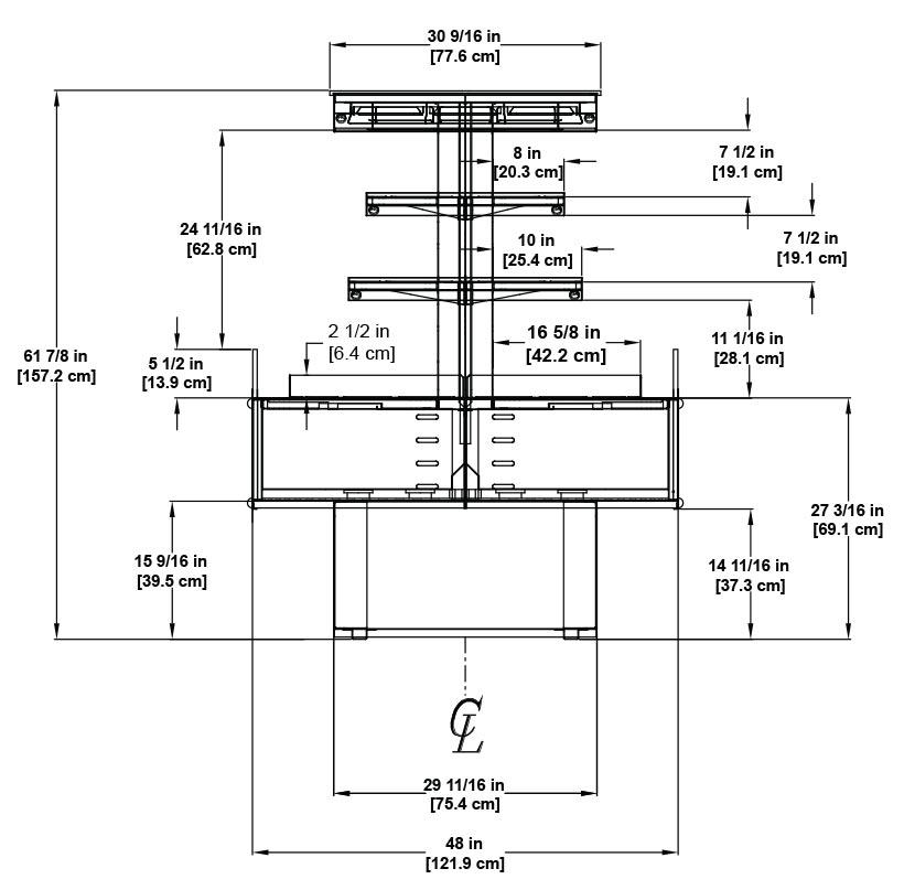 HVI-3-406SC-RAD Self-Service Open Multi-Deck Refrigerated Radius Island Merchandiser for Bakery, Beverage, Dairy, Deli and Produce.